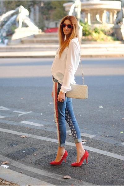 american flag Topshop jeans - white silk Zara shirt - cream vintage purse