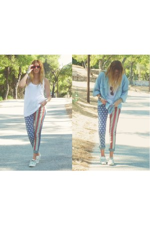 american flag Topshop jeans - blue denim jacket Levis jacket - white Zara top