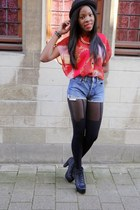 black subdued wedges - H&M hat - navy Levis shorts - black Sacha stockings