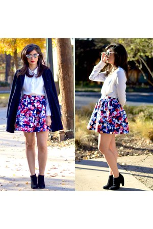 navy Forever 21 jacket - white Forever 21 blouse - navy Express skirt