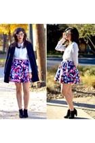 navy Forever 21 jacket - white Forever 21 blouse - navy Express skirt