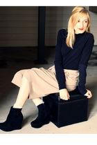 black H&M cardigan - beige my mothers vintage skirt - silver Target socks - blac