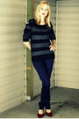 Blue-h-m-sweater-blue-h-m-pants-red-nine-west-shoes