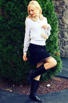 gray American Eagle hat - silver H&M sweater - black Target dress - black Katie&