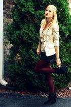 beige H&M blazer - beige H&M shirt - black Zara shorts - red Forever XXI tights