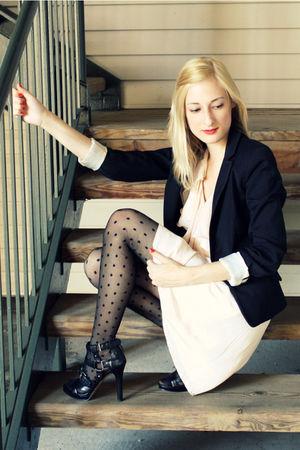 black H&M blazer - beige H&M dress - black H&M tights - black Nine West shoes