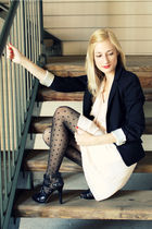black H&M blazer - beige H&M dress - black H&M tights - black Nine West shoes