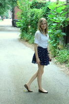 blue American Eagle skirt - white Alice Temperley shirt - brown Target shoes - b