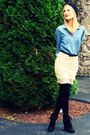 Black-target-hat-blue-h-m-shirt-beige-gruche-skirt-black-h-m-tights-blac