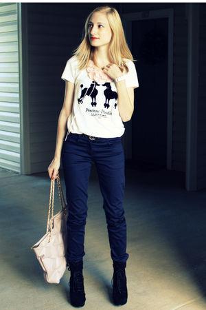 white H&M shirt - blue H&M pants - pink H&M Target necklace - pink H&M bracelet