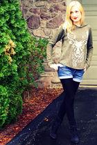 green Zara sweater - blue Delias shorts - black H&M tights - black Zara shoes