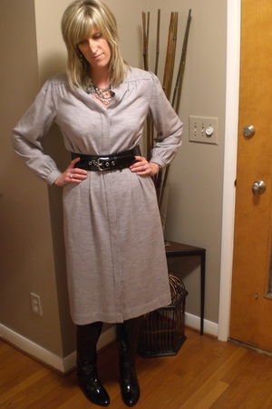 gray Talbots dress - black Target belt - black Via Spiga boots - gray HUE tights
