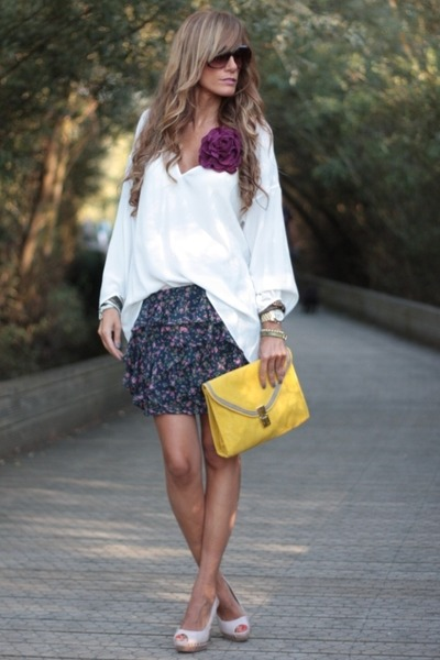 white Zara shirt - BLANCO shoes - asos bag - Stradivarius skirt
