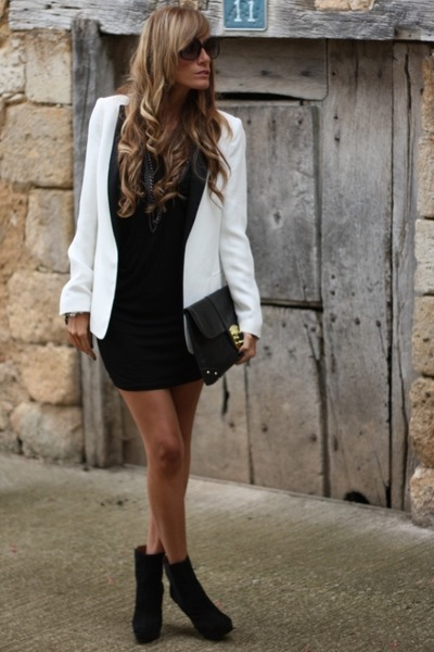 white Zara blazer - Zara boots - Queens Wardrobe dress