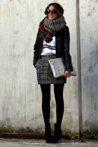 black Zara scarf - gray Mango skirt