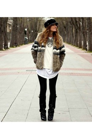 silver pull&bear coat - black Choies boots - black Primark hat