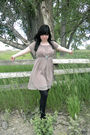 Pink-dress-black-tights-pink-kimichi-blue-shoes-silver-necklace