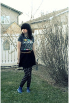 gray Local Celeb t-shirt - black Urban Outfitters skirt - black Hot Topic tights
