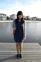 gray banana republic sweater - blue pins  and needles dress - yellow Urban Outfi
