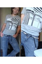 balenciaga t-shirt - Levis jeans - DSquared belt