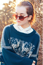 handmade sweater - carrot orange round sunnies Injiska sunglasses