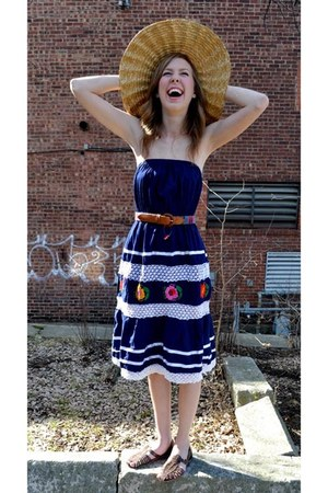 navy Reclaimed Fashions dress - bronze thrifted vintage hat