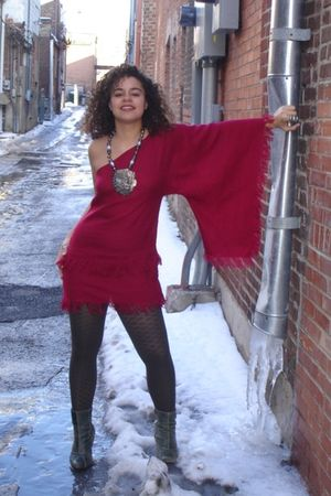 red reclaimedfashionscom dress - green Gap tights - green kenis boots - silver v