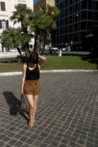 tan suede Miss Selfridge via eBay shorts - Miss Selfridge bag - black H&M vest