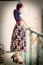 navy lace Forever21 shirt - hot pink silk Goodwill skirt