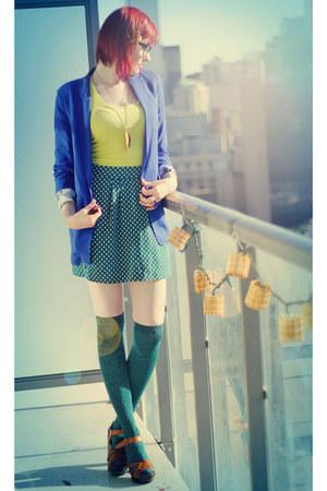 teal asos socks - blue H&M blazer - chartreuse H&M top