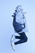 silver second hand coat - silver New Balance shoes - black baba bag