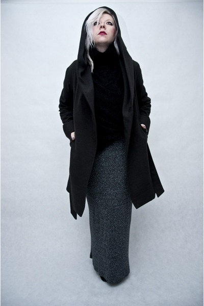 black Mosquito coat - heather gray Zara skirt - black second hand blouse