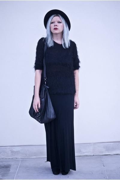 black DIY skirt - black second hand blouse