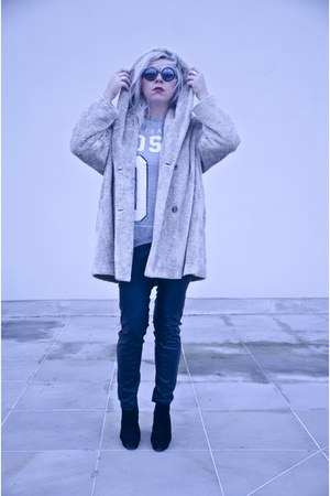 silver second hand coat - black H&M pants