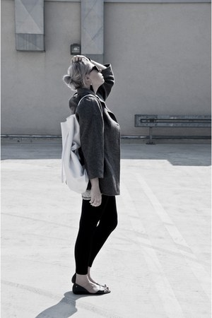 heather gray second hand coat - off white baba bag - black Melissa flats