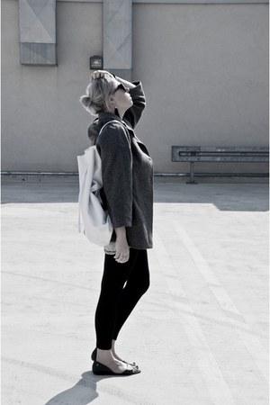 heather gray second hand coat - off white baba bag - black Melissa flats