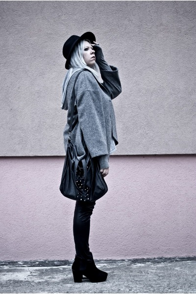 heather gray H&M blouse - charcoal gray by insomnia blouse - black deezee boots