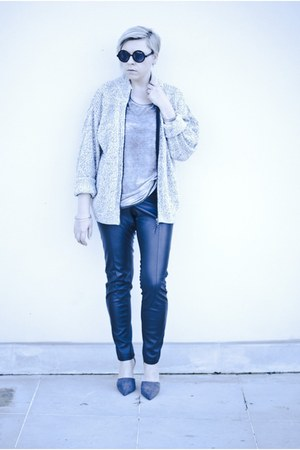 black H&M pants - gray Zara heels - silver new look t-shirt