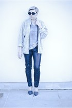 black H&M pants - gray Zara heels - silver new look t-shirt