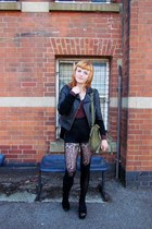 leather jacket - canvas army surplus bag - American Apparel shorts - leotard Ame