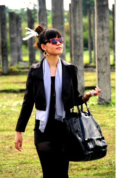 plainjanes by me blazer - jii by gloria scarf - Forever 21 dress - Forever 21 ea