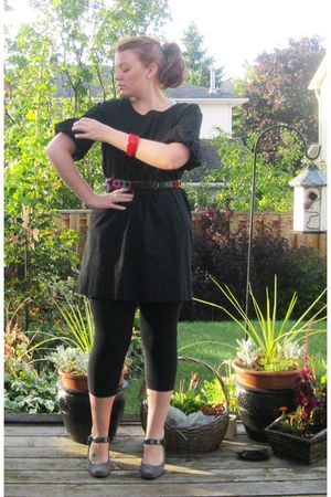 black Anne Klein dress - black tights - gray franco sarto shoes - thrifted belt