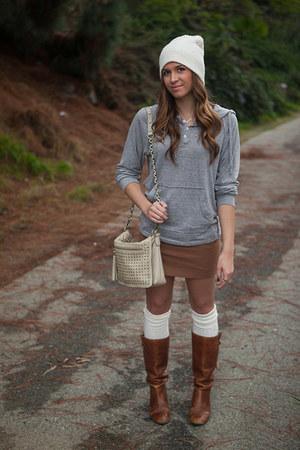 H&M hat - Steve Madden boots - DSW bag - Urban Outfitters socks - H&M skirt