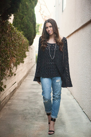 free people sweater - cotton on jeans - free people necklace - Zara heels