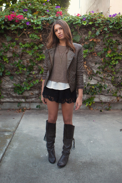 Zara jacket - Nordstrom boots - H&M sweater - sabo skirt shorts - Nordstrom top