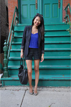 sequins Topshop top - Armani Exchange blazer - Chanel bag - aliceolivia shorts