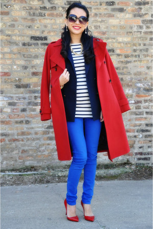 trench coat Tommy Hilfiger coat - rag &amp; bone jeans - stripes joseph top