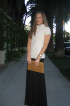 cowl neck BCBG sweater - clutch vintage purse - maxi skirt H&M skirt - Michael K