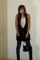dress - tights - Fendi purse - payless shoes