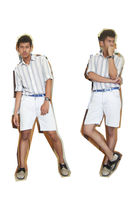 white shirt - blue belt - white shorts - silver shoes